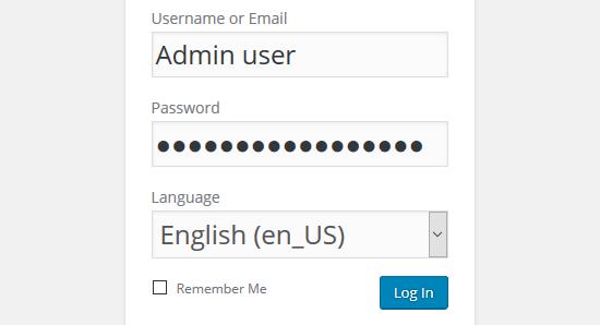 admin belépőképernyő, amin látszik a nyelvválasztó legördülő is