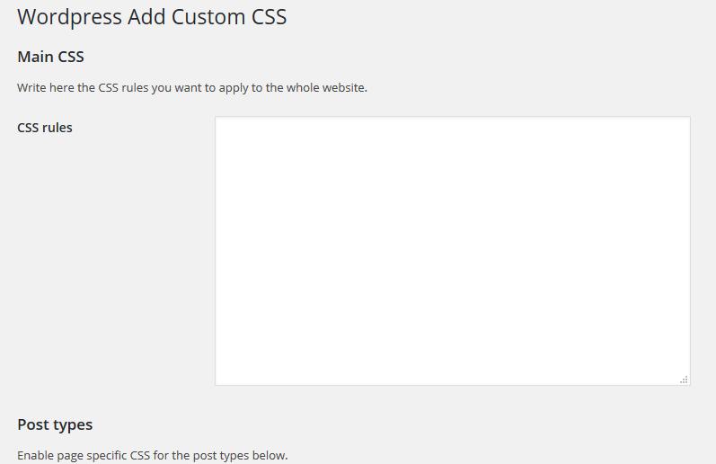 képernyőkép a WP Add Custom CSS-ről