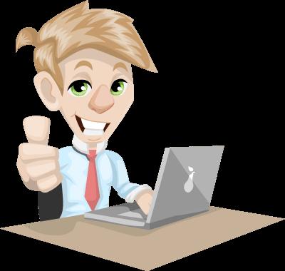laptop előtt egy mosolygó férfi, ahogy feltartja a hüvelykujját