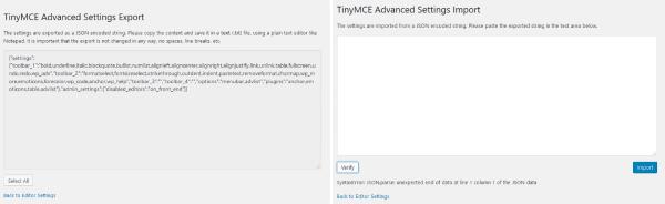 képernyőkép a TinyMCE Advanced pluginból